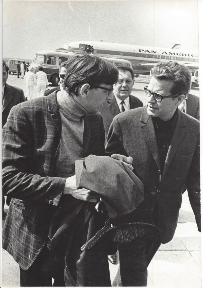 Photograph of Jiri Menzel and Milos Forman. Milos Forman, Miroslav Hucek, Jiří / Menzel Menzel, Jiri.