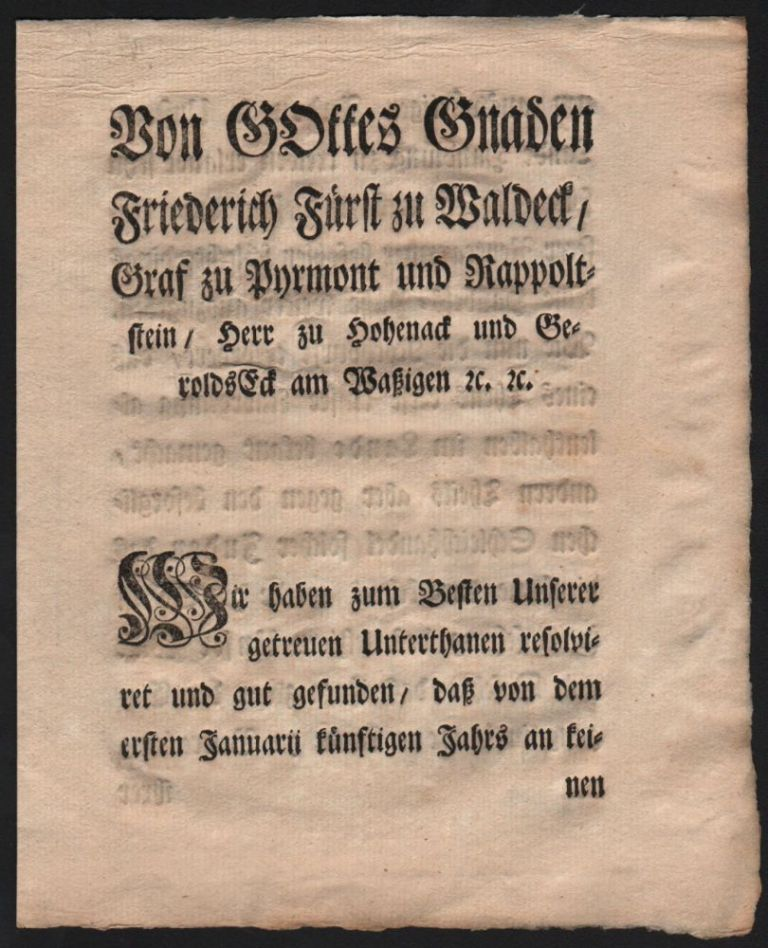 [Decree Against Smuggling by Foreign Jews, on November 11, 1767.] Von Gottes Gnaden Friedrich Fürst zu Waldeck, [...]. Prince of Waldeck and Pyrmont Friedrich Karl August.
