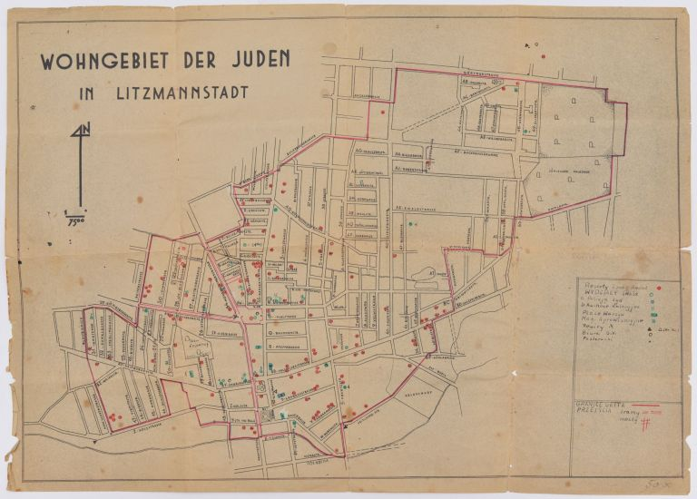 Wohngebiet der Juden in Litzmannstadt. [Residential Area of the Jews in Litzmannstadt.]