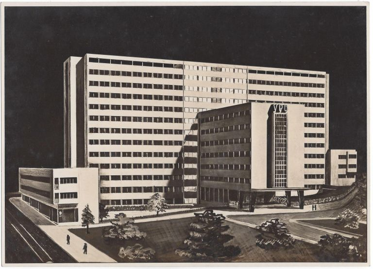 Photographic Reproduction of Josef Havlicek and Karel Honzik's Plan for the General Pension Institute Building in Prague. Josef Havlicek, Karel Honzik, Antonin Gubcevsky.