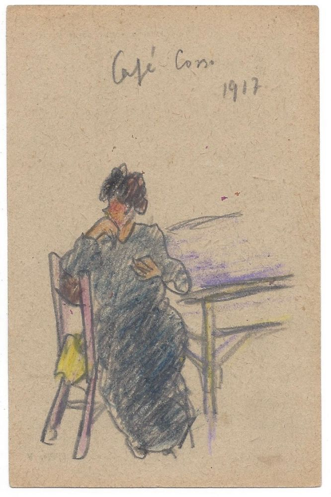 [László Moholy-Nagy's Hand-Drawn Postcard Of a Lady at the] Café Corso, 1917. László Moholy-Nagy.