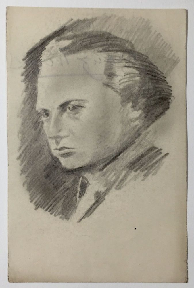 Signed Portrait in Pencil. Franz Werfel.