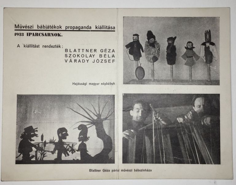 Photographically Illustrated Advertisement Postcard of a Modernist Puppetry Exhibition in Budapest, 1933. André Kertész, Géza Blattner.