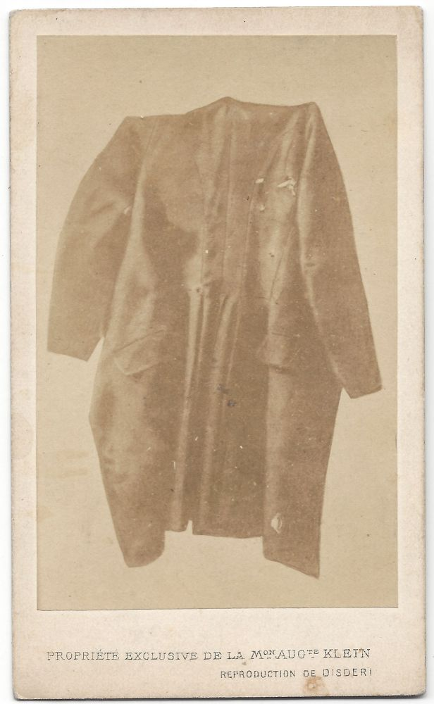 Emperor Maximilian's Vest and Coat After his Execution. François Aubert, André-Adolphe-Eugène Disdéri.