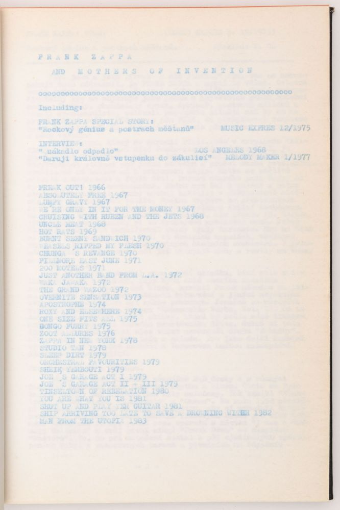 [Czech Samizdat Publication on Frank Zappa and The Mothers of Invention.]. Frank Zappa.