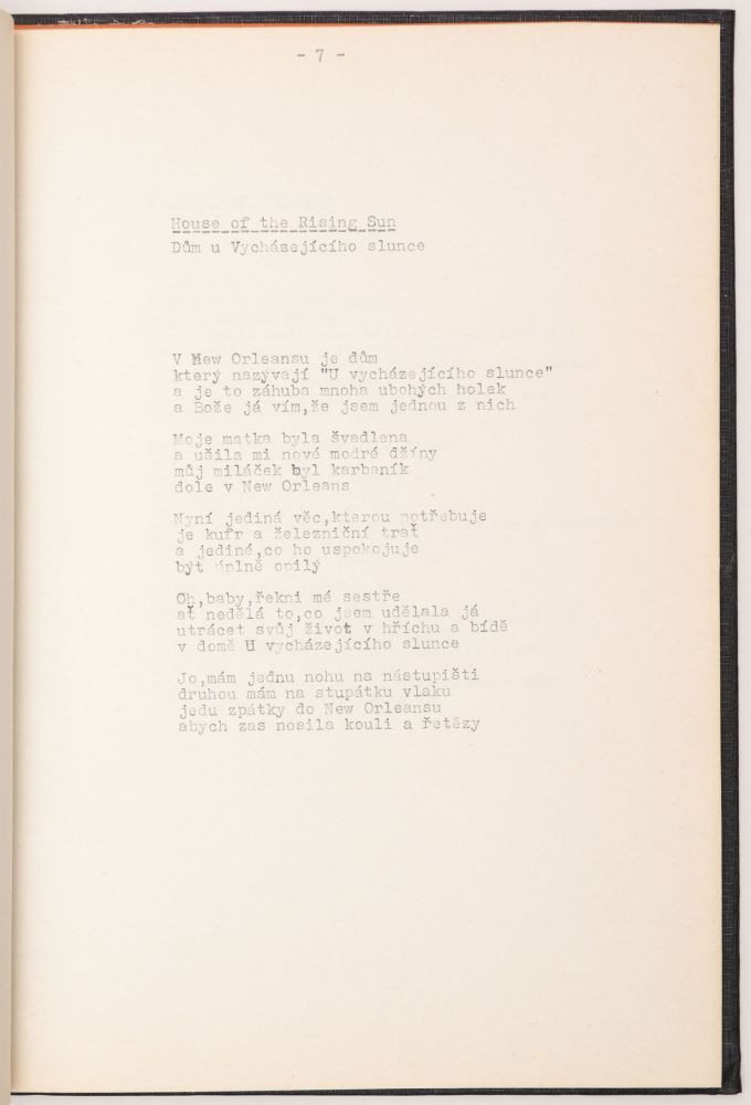 [Czech Samizdat Edition of Bob Dylan Lyrics.]. Bob Dylan.