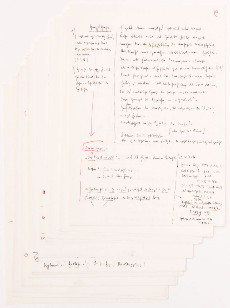 "Heidegger's Autograph Notes and Comments on the Transcript of Gadamer's Lecture ""Von Hegel bis Heidegger"". Martin Heidegger, Hans-Georg Gadamer."