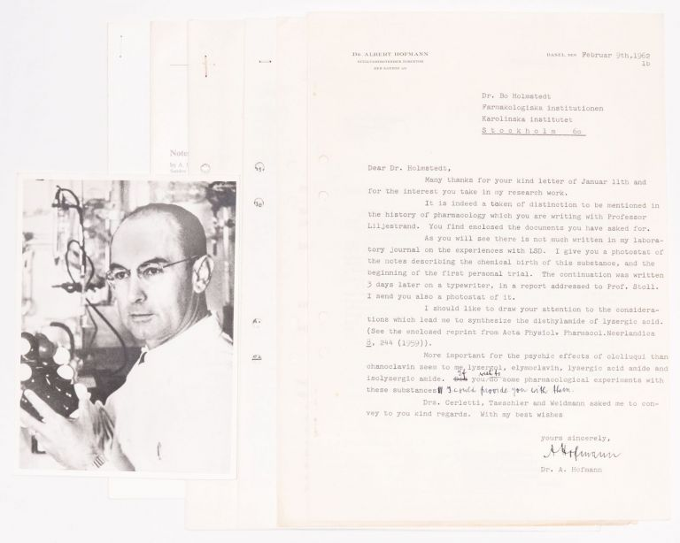 Signed, Typewritten Letter by Albert Hofmann; Photocopy of the First Report on the Use of LSD; and Other Documents. Albert Hofmann, Bo Holmstedt.