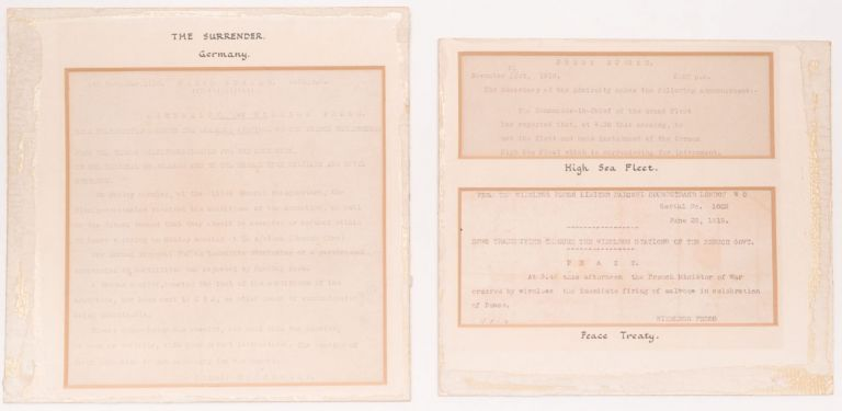 [Three Original Telegraphs Related to the Surrender of Germany During WWI and the Peace Treaty of Versailles.] The Surrender. Germany. / High Sea Fleet. / Peace Treaty