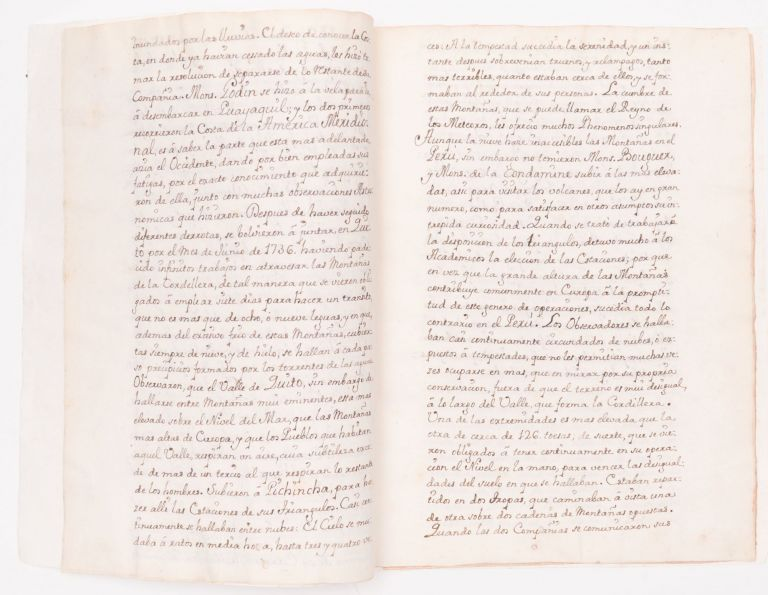 18th-Century Manuscript On the Spanish Role in the French Geodesic Mission, and the Figure of the Earth. Jorge Juan y. Santacilia, Antonio de Ulloa, Diego de Torres Villarroel, Isaac Newton.