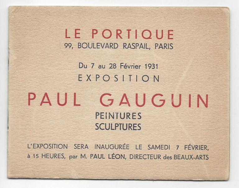 Exhibition Invitations from the Collection of Emil Szittya. Emil Szittya, Paul Gauguin, Jean Pougny, Fernand Léger.