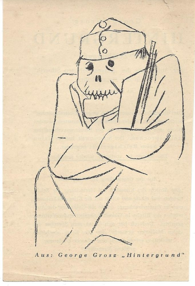 Promotional Leaflet for George Grosz's Hintergrund.