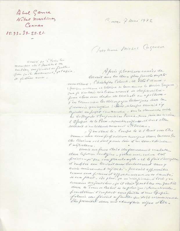 Letter of a film project about Charles de Gaulle. Abel Gance.