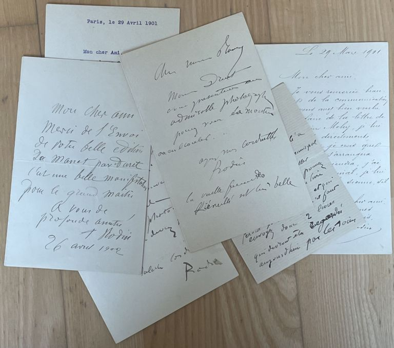5 autograph and 1 typed letter to Henri Floury. Rodin Auguste.