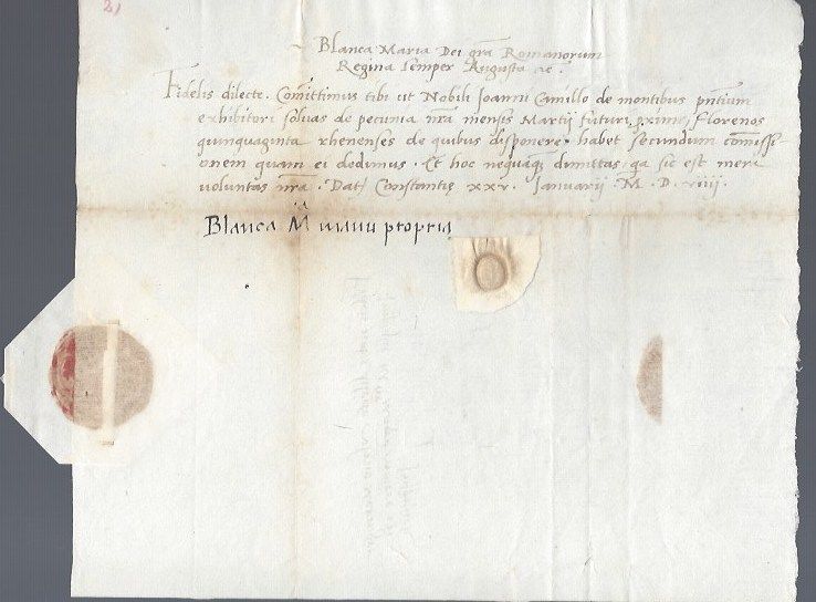 Signed letter to Ulric Meringer. Bianca-Maria Sforza.