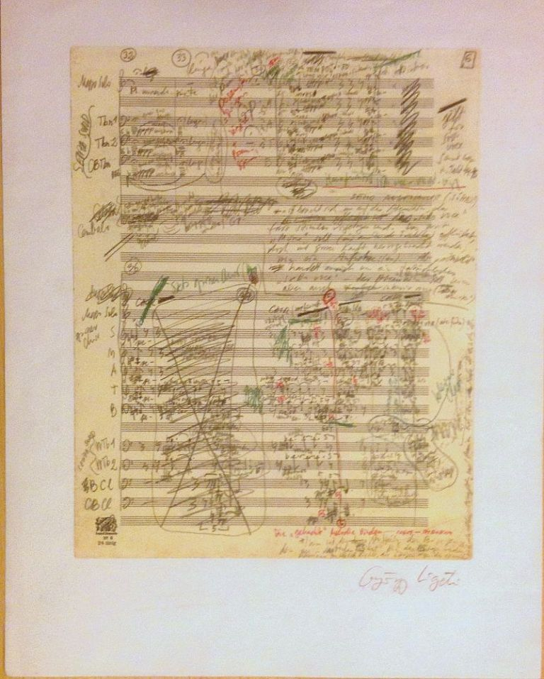 Signed facsimile page of the manuscript score of Requiem. György Ligeti.