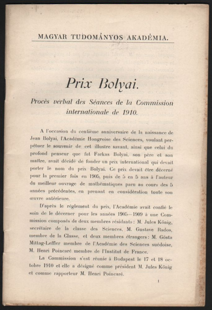Prix Bolyai. Procès verbal des Séances de la Commission internationale de 1910. Henri Poincaré.