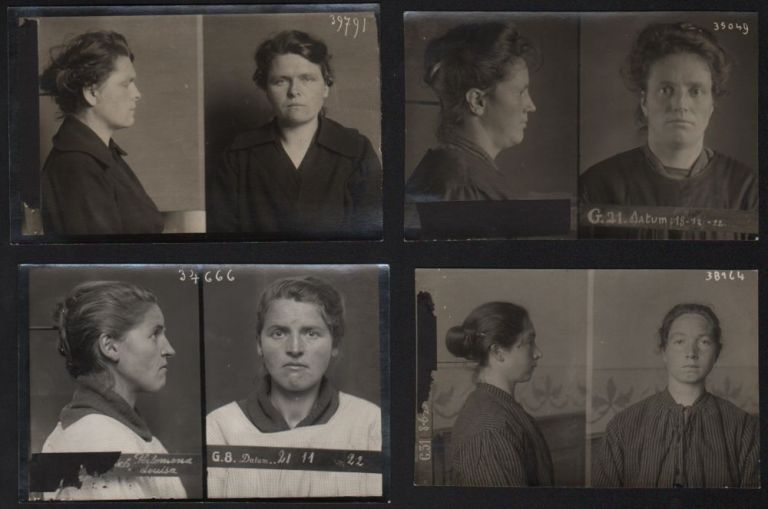 Collection of Eleven 1920s Mugshots from Belgium, Three Typological Portraits of Women.