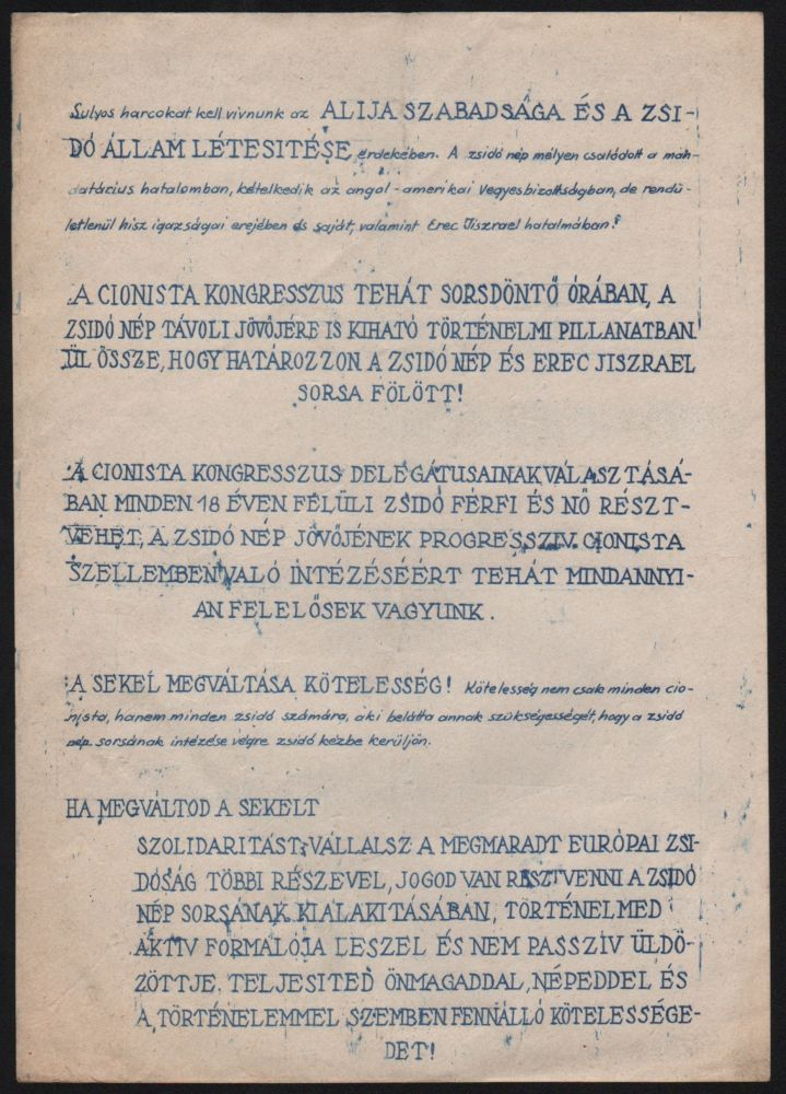 Zionist Handbill for the Election of the Members of the Zionist Congress, 1946.