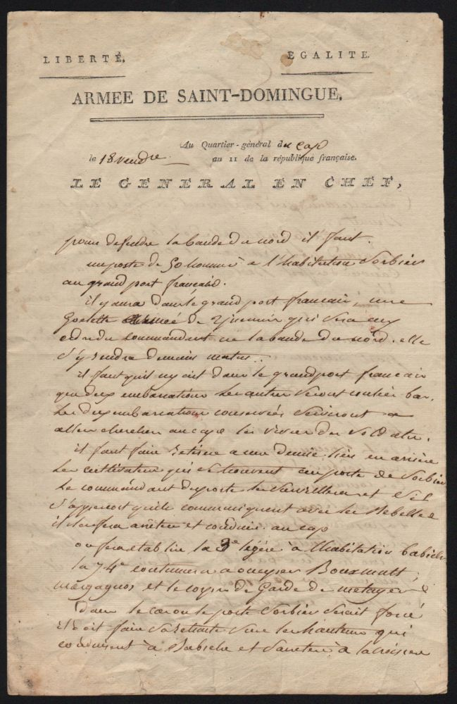 Genereal Leclerc's Handwritten Letter, on October 10, 1802. Charles Leclerc.