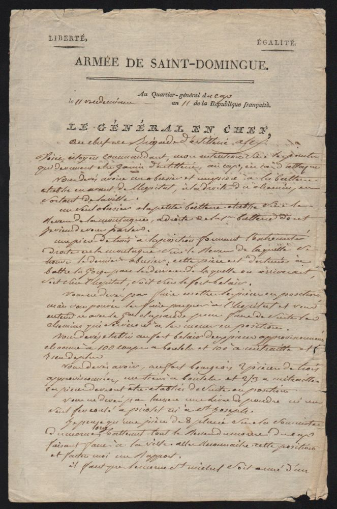 Genereal Leclerc's Handwritten Letter to Artillery Brigade Commander Alex, on October 3, 1802. Charles Leclerc.