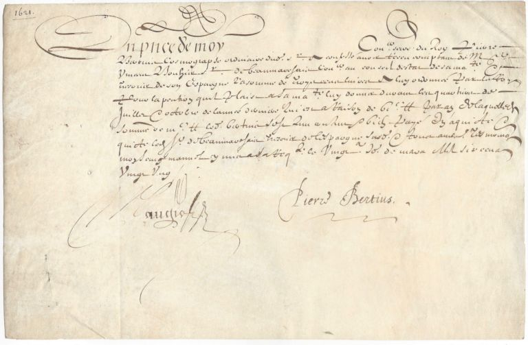 Signed Receipt on Vellum. Petrus Bertius.