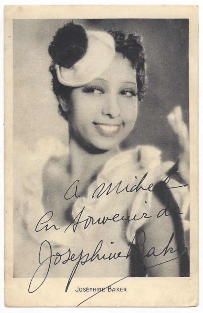 Josephine Baker's inscribed Photo Postcard. Josephine Baker.