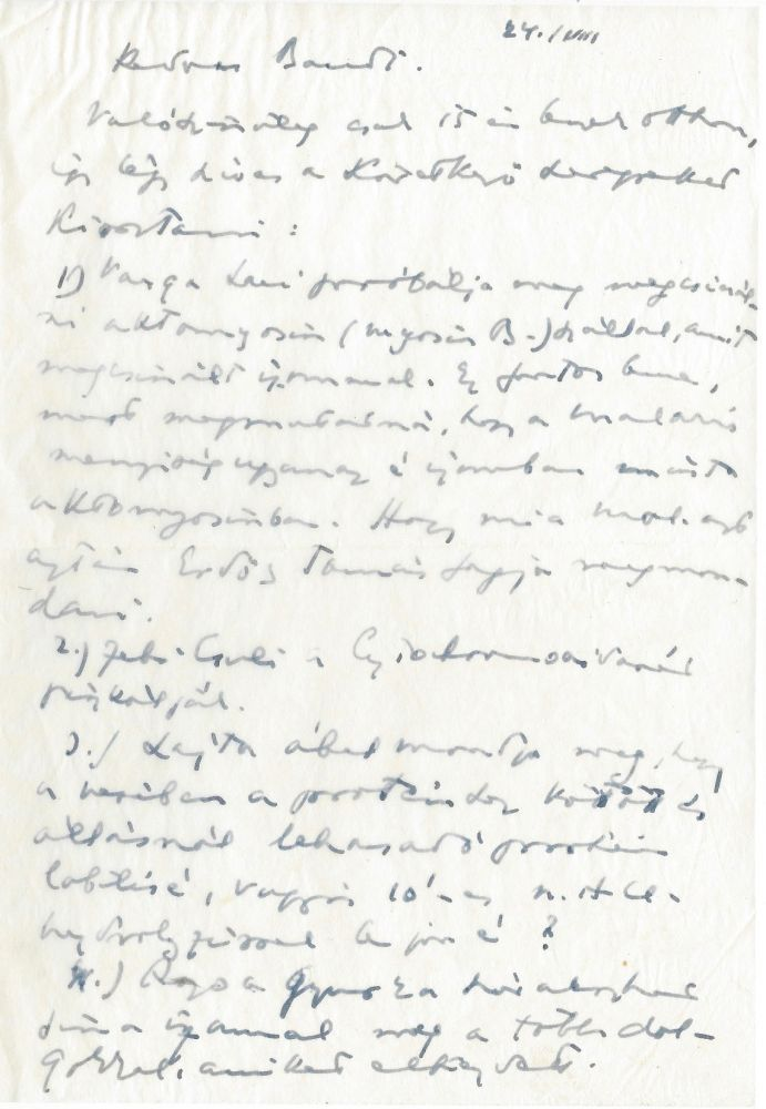 Holograph Letter to the Trustee at the Biochemistry Department. Albert Szent-Györgyi, Mr. and Mrs.