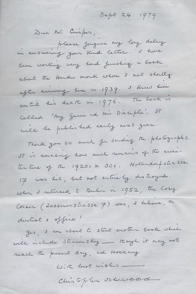 Christopher Isherwood's Autograph Letter.