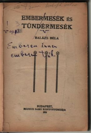 [Printed, and Crossed in ink:] Embermesék és tündérmesék. [In Handwriting:] Emberen innen...