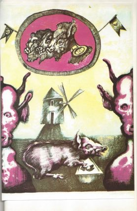 Folwark zwierzecy. / Folwark zwierzęcy. Przełożyła Teresa Jeleńska. Ilustrował Jan Lebenstein. [Animal Farm. Translated by Teresa Jelenska. Illustrated by Jan Lebenstein.]. George Orwell, Jan Lebenstein.