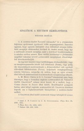 Contributions to the Theory of the Neutron.] Adalékok a neutron elmélethez. (Beitrage zur...