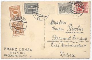 Franz Lehár's Holograph Postcard to His Brother-In-Law.