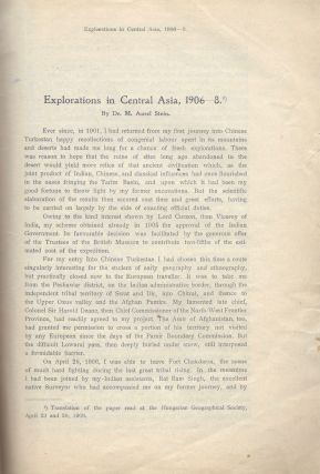 "Explorations in Central Asia, 1906–1908. [On title: Separat-Abdruck aus den ""Földrajzi..."