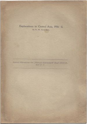 "Explorations in Central Asia, 1906–1908. [On title: Separat-Abdruck aus den ""Földrajzi Közlemények"" Band XXXVII., Heft 5–7.]"