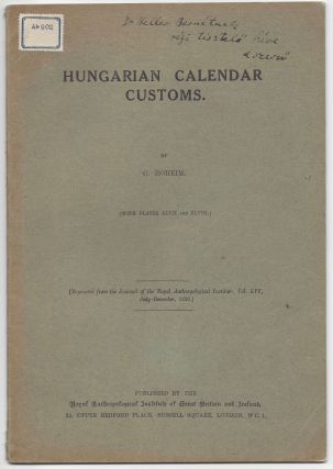 Caption title:] Hungarian Calendar Customs. (With Plates XLVII an XLVIII.) By G. Róheim....