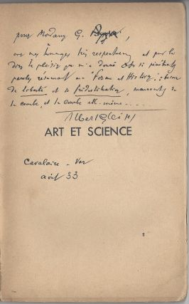 Art et Science. Conference faite a Lodz, Pologne, le 28 avril 1932 pour le Grupa Sztuki...