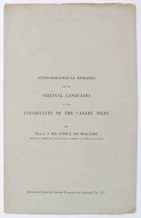 Cover title:] Ethnographical Remarks on the Original Language of the Inhabitants of the Canary...