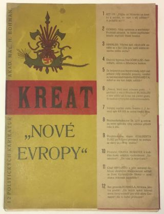 "[Cover title:] Kreatury ""Nové Evropy"" 1945. 12 politických karikatur. Akad. Mal. H. Bohman.[Creatures of ""New Europe"" 1945. 12 Political Cartoons.]"