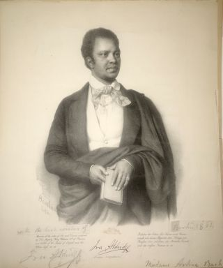Inscribed Lithograph Portrait of] Ira Aldridge African Tragedian. Ira Aldridge, Miklós...