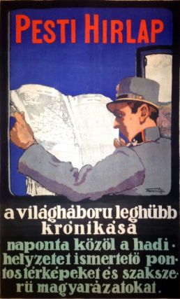 "Advertisement Poster for the Newspaper ""Pesti Hírlap"". Géza Farag&oacute"
