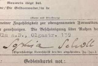 Sophie Scholl's Signed Membership Suspension Request From the Bund Deutscher Mädel. Sophie Scholl