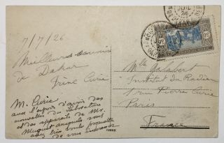 Signed Postcard with Handwritten Greetings from Marie and Iréne Curie. Curie Marie, Iréne...