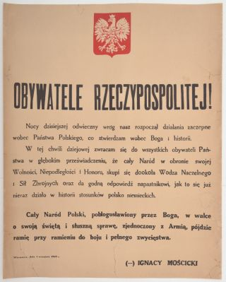 Appeal of the Polish President on September 1, 1939] Obywatele Rzeczypospolitej! Ignacy Moscicki,...