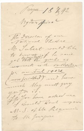Dvorak's Autograph Letter to His London Publisher. Antonín Dvořák, Antonin...