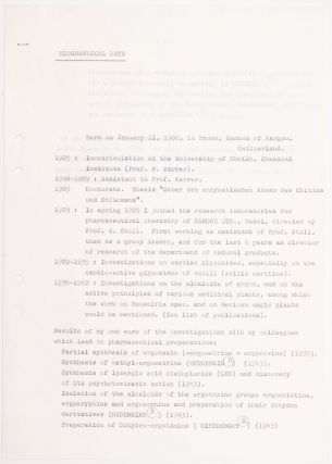 Signed, Typewritten Letter by Albert Hofmann; Photocopy of the First Report on the Use of LSD; and Other Documents.