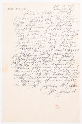 ALS.] Sigmund Freud's Autograph Letter in German to Frau Wolff. Sigmund Freud