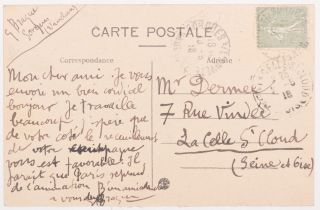 Georges Braque's Signed Autograph Postcard to Paul Dermée. Georges Braque
