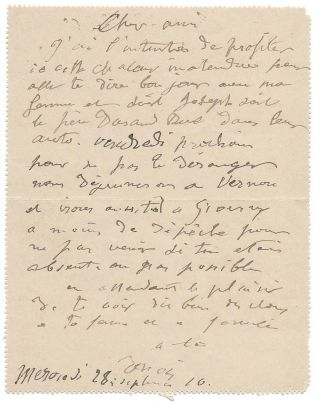 Pierre-Auguste Renoir's Signed Autograph Postcard in French to Claude Monet. Pierre-Auguste...