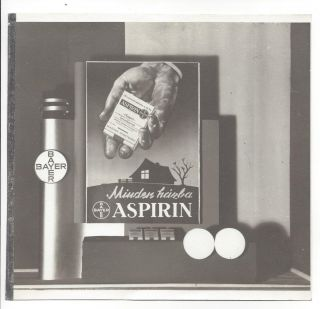 6 Photographs of Art Deco Advertisements for Bayer Aspirin. István Rottler